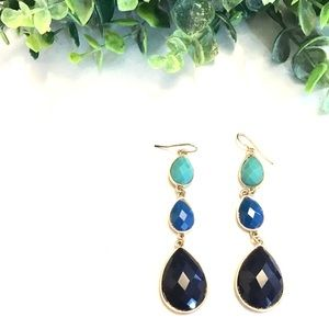 Faceted Turquoise and Navy Faceted Drop Earrings